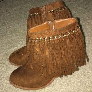 Shoes - Moccasin fringe ankle boots